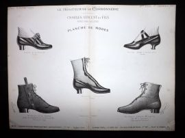 Le Moniteur de la Cordonnerie 1887 Rare Antique Shoe Design Print 10